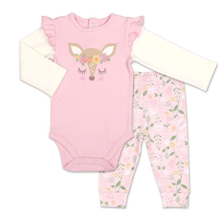 Koala Baby Little Fawn Bodysuit/Floral Jogger 2 Piece Set, 18 Month