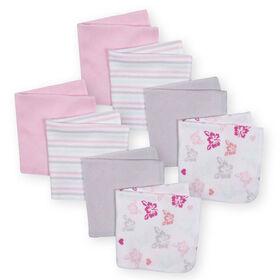 Débarbouillettes de Koala Baby paquet de 8 floral rose.