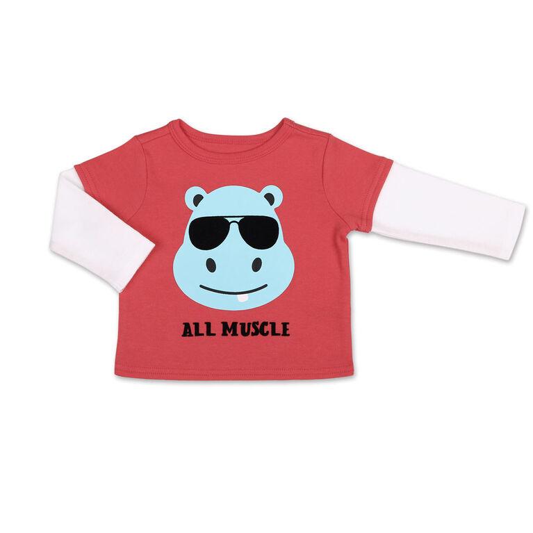 Koala Baby Hippo Long Sleeve Tee/ Jogger 2 Piece Set, 0-3 Months