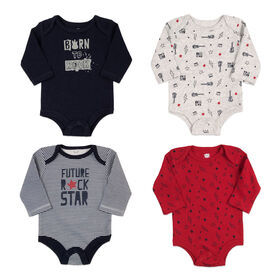 Rococo 4 Pk Bodysuit - Assorted colors, 6-9 Months