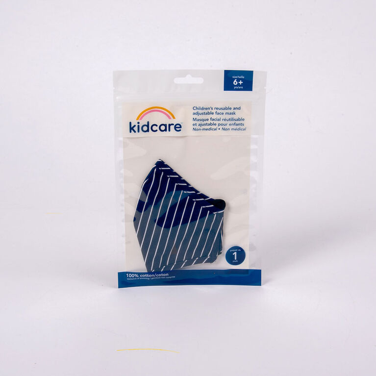 kidcare - Cloth Face Mask Youth 1-pack - Blue Stripes