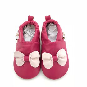 Tickle-toes  Soft Leather Shoes - Fuchsia Pink Bow, 18-24 Months
