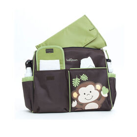 Sac a couches sport a motif de singes de Baby Boom - brun/vert.