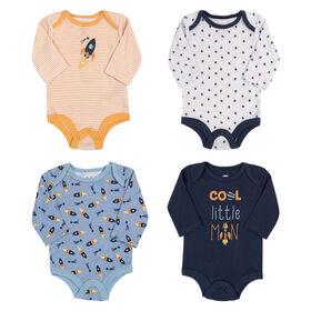 Rococo 4 Pk Bodysuit - Assorted colors, Newborn