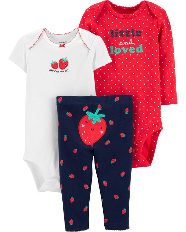 Carter's 3-Piece Strawberry Little Character Set - Red/Ivory/Blue, 6 Months