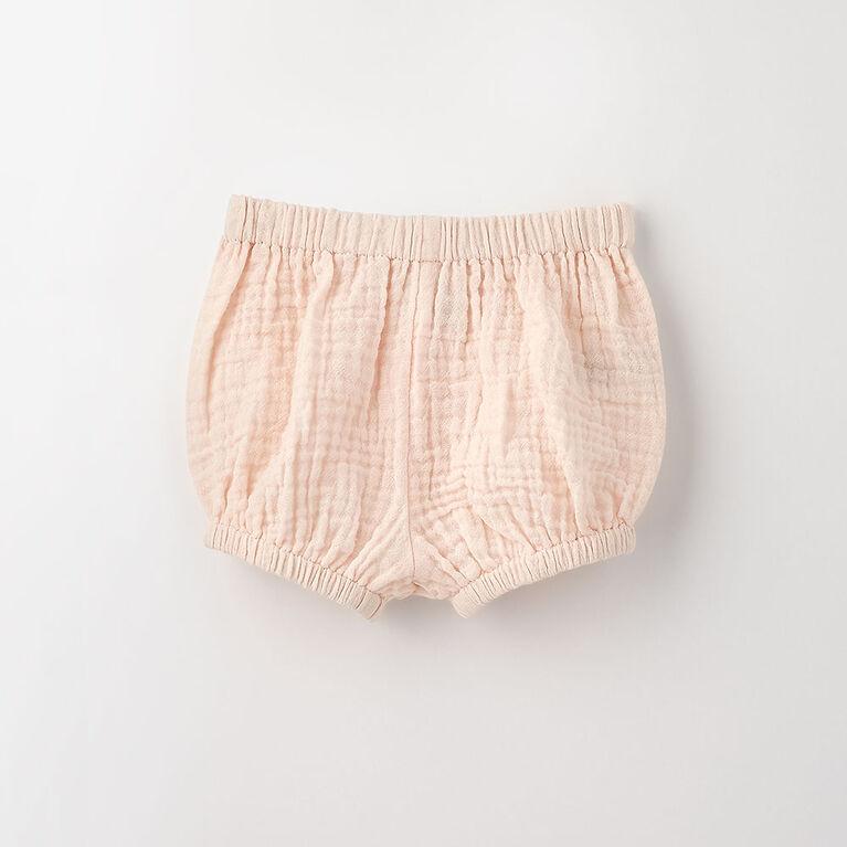 18-24m short élastique en tissu froissé - perle