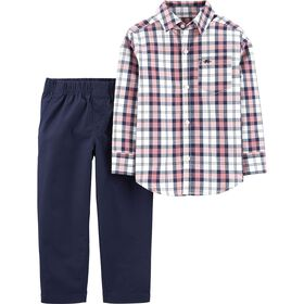 Ensemble 2 pièces chemise boutonnée à motif écossais et pantalon en popeline Carter's - rose/marine, 12 mois.