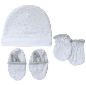 Koala Baby Hat, Mittens And Booties - Grey Clouds, size 3-6 months