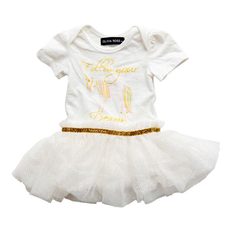 Olivia Rose –Short Sleeve Unicorn Print Tutu Dress – White - 18 Months