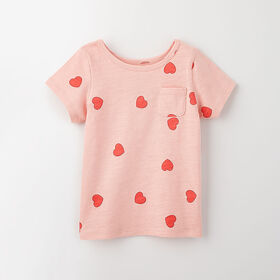 simple roll-sleeve pocket tee, 18-24m - light pink print
