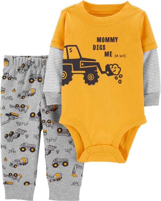 Ensemble 2 pièces cache-couche à tracteur et pantalon – jaune, 6 mois