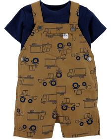 Carter's 2-Piece Tee & Truck Shortall Set - Brown/Navy, 3 Months