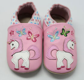 Tickle-toes rose avec Licorne 100% Soft Leather Shoes 6-12 mois