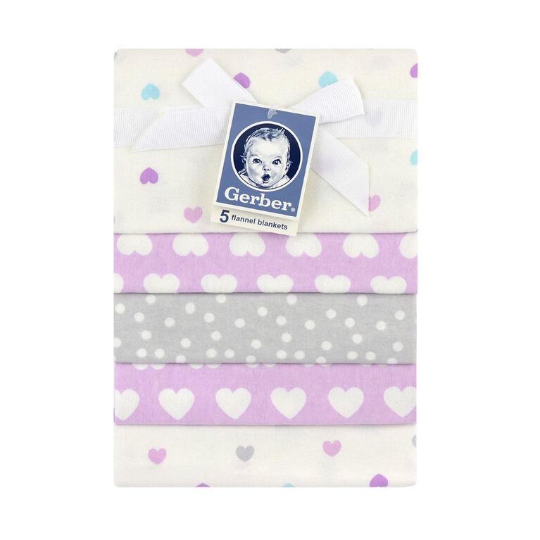 Emballage de 5 couvertures de flanelle de Gerber – violet.