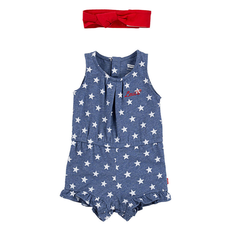 Levis Romper with Headband  - Blue, 9 Months