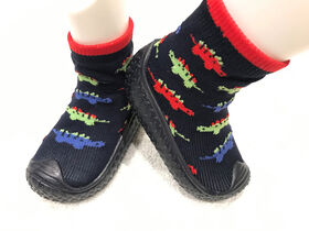 Tickle toes - Navy Sole & Socks with Dinos Skids Proof Shoes 6-12 Months
