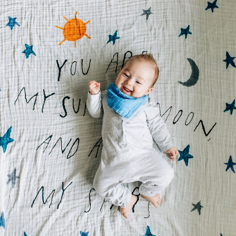 Red Rover - Cotton Muslin Swaddle Single - Sun Moon Stars - R Exclusive