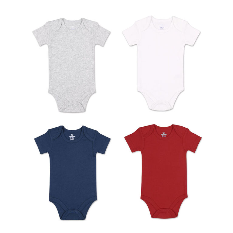 Koala Baby 4Pk Short Sleeved Solid Bodysuits, Red/Navy/Heather Grey/White, 3 Month