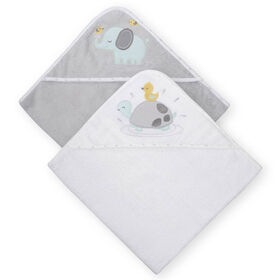 Koala Baby 2-Pack Hooded Towel, Grey Turtle and Elephant