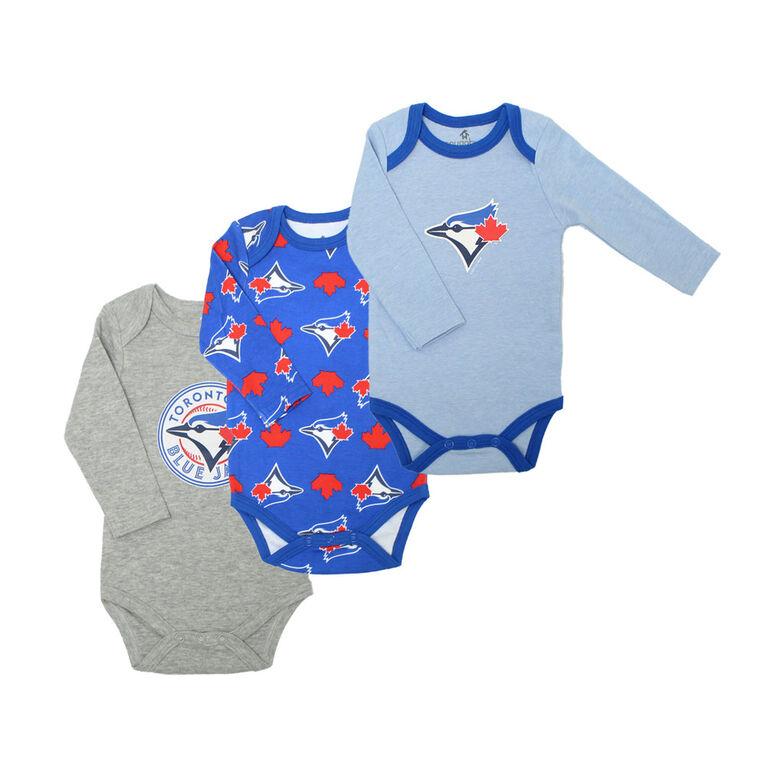 Snugabye Blue Jays 3 Pack Long Sleeve Bodysuits  - Blue, 3-6 Months