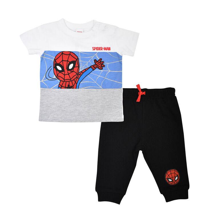 Marvel Spiderman Ensemble 2 pièces T-shirt et pantalon jogging - Noir, 3 mois