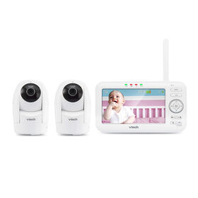 """VTech VM5262-2 5"""" Digital Video Baby Monitor with 2 Pan & Tilt Cameras, Full Color and Automatic Night Vision, White"""