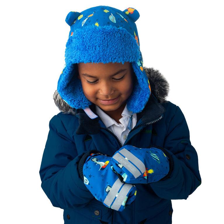 FlapJackKids - Mitaines de ski déperlantes pour tout-petits, enfants, garçons - Poignets côtelés - Dino / Bleu - Grand 4-6 ans