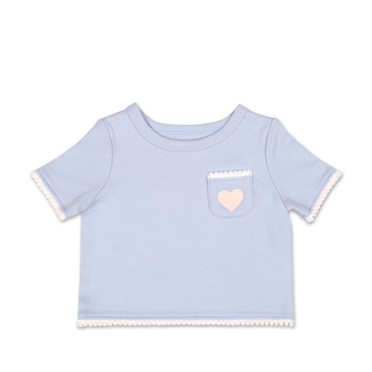 Koala Baby Lilac Pom Pom Trim and Heart Pocket Tee - 3-6 Months