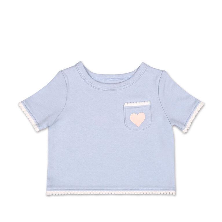 Tee-shirt poche cœur et bordures à pompons lilas Koala Baby  - 3-6 mois