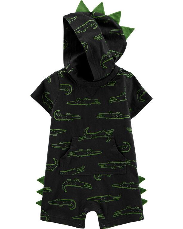 Carter's Alligator Hooded Jersey Romper - Navy, 12 Months