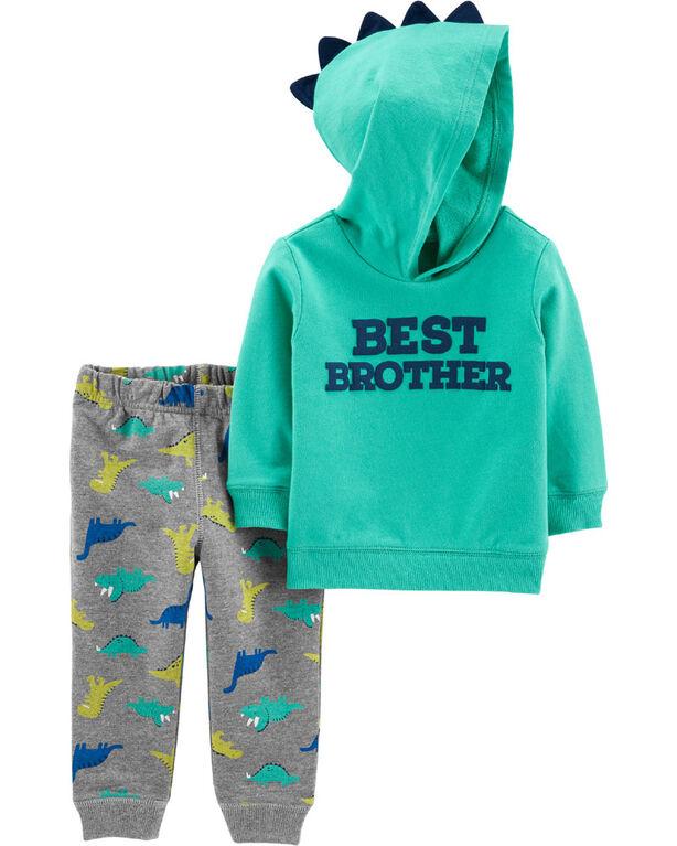 Carter's 2-Piece Best Brother Hoodie & Dinosaur Jogger Set - Green/Grey, 9 Months