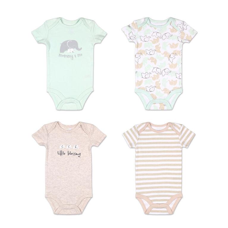 Koala Baby 4 Pack Short Sleeved Bodysuit, Elephant, 6-9 Months