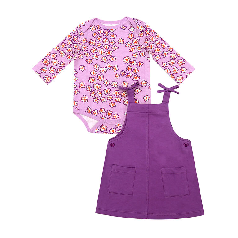 earth by art & eden - Cheyenne Jumper Set-2-Piece Overall Set - Orchid Bouquet, 3 Months