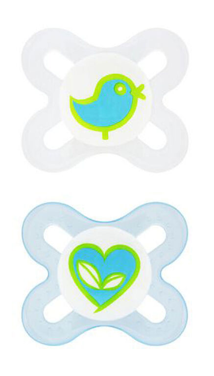 MAM Attitude Orthodontic Pacifier, 6+ Months 2-Count, Blue