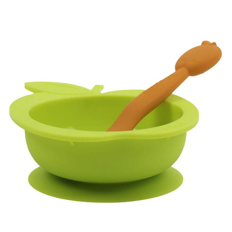 Bol en silicone avec cuillère - Citron vert et orange.