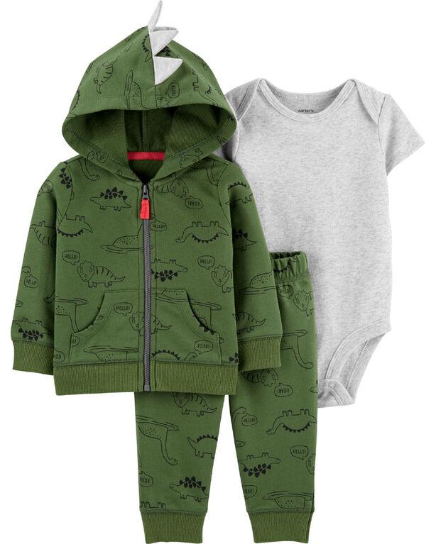 Carter's 3-Piece Dinosaur Cardigan Set - Green, 24 Months