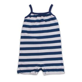 Snugabye Long Romper - Stripe - Navy/White, 9-12  Months