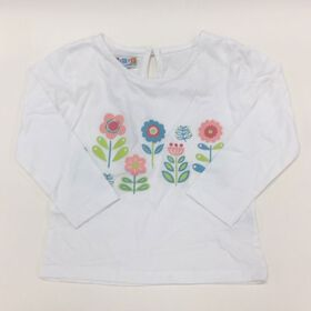 Coyote and Co. T-shirt manches longues à fleurs - Blanc - de 6 à 9 mois.