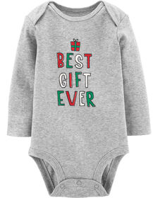 """Carter's """"Best Gift Ever"""" Christmas Collectible Bodysuit - Grey, 24 Months"""