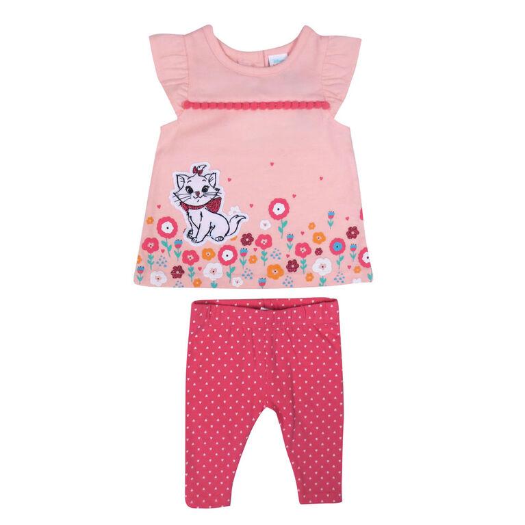 Disney Marie ensemble legging 2 morceaux - rose, 9 mois