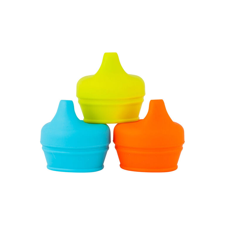 Boon Snug Spout Sippy Lid 3-Pack - Blue/Green/Orange
