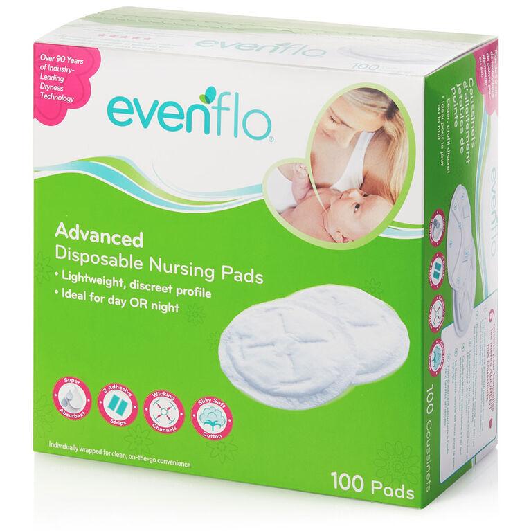 Coussinets d'allaitement à la fine pointe de la technologie Evenflo, 100 par boîte.