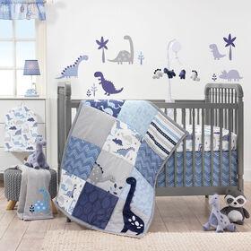 Originaux de l'heure du lit – Ensemble de linge pour lit de bébé 3 pièces Rugissement – Bleu.