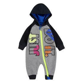 Nike JDI Fly Coverall - Charcoal With Neon , Size 12 Months