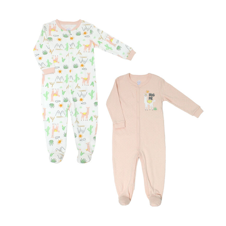 Koala Baby 2 Pack Sleeper - Llamas Pink, 9 Months