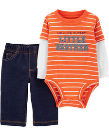Carter's 2-Piece Little Brother Bodysuit Pant Set - Orange, Newborn
