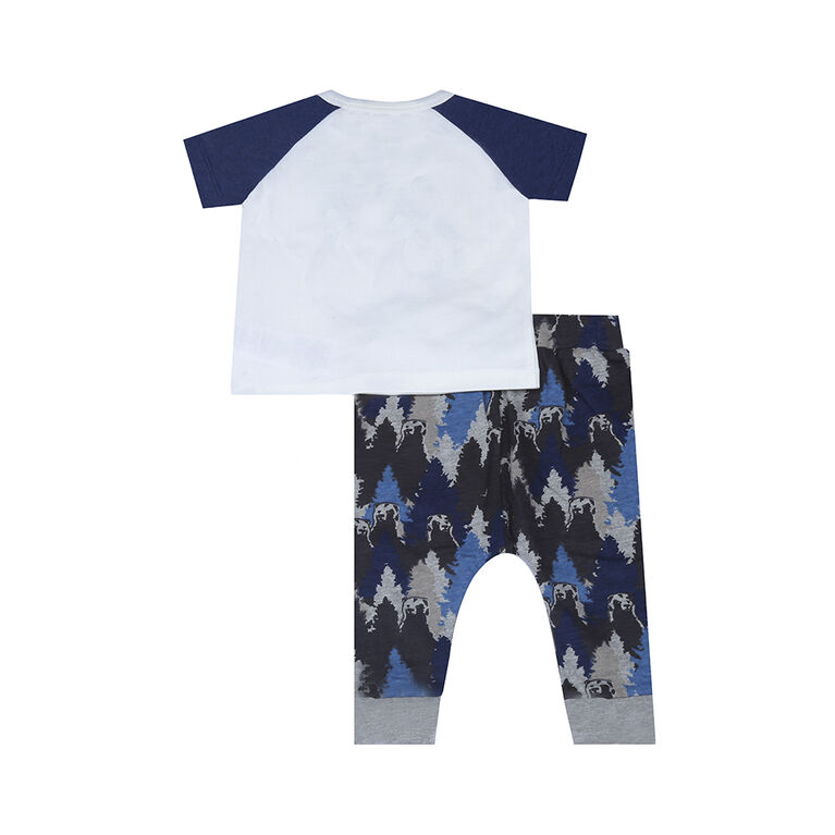 earth by art & eden - Paul 2 Piece Legging Set - Whisper White/Navy Heather, 9 Months