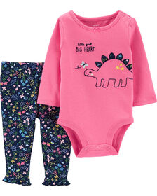 Carter's 2-Piece Dinosaur Bodysuit Pant Set - Pink, Newborn