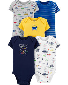 Carter's 5-Pack Cars Original Bodysuits - Yellow/Blue/Grey, Newborn