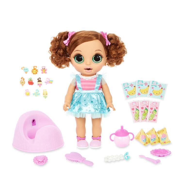 Poupée BABY born Surprise Magic Potty Surprise avec yeux verts: la poupée fait un pipi scintillant et ses crottes sont des breloques surprises